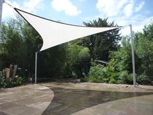 Colour GREY Waterproof fabric triangular shade sail 5m x 5m x 5m